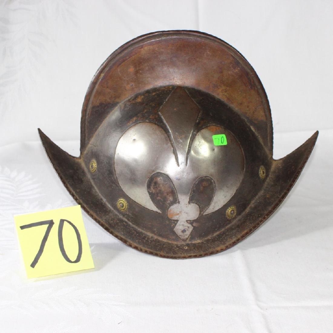 Antique German Morion Helmet Fleur De Lis ca 1600