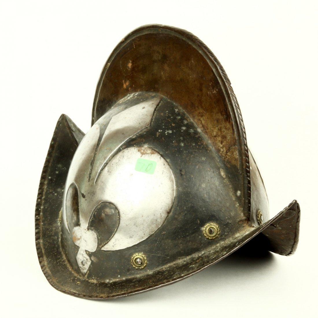 Antique German Morion Helmet Fleur De Lis ca 1600 - 3