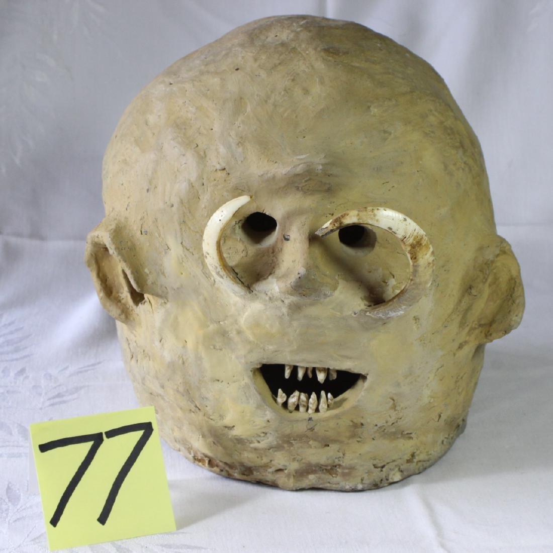 Papua New Guinea Asaro Mudmen Mud Mask Holosa Tusks - 2