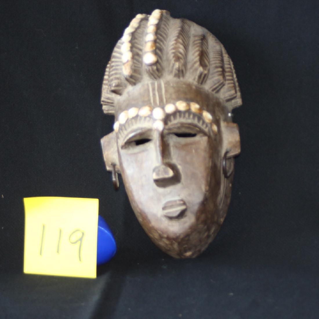 African Carved Wood Mask Mali Bambara Dogon Shells