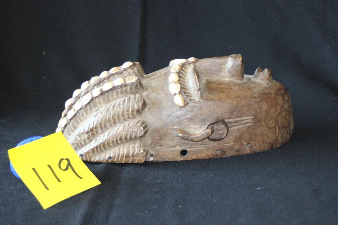 African Carved Wood Mask Mali Bambara Dogon Shells - 2