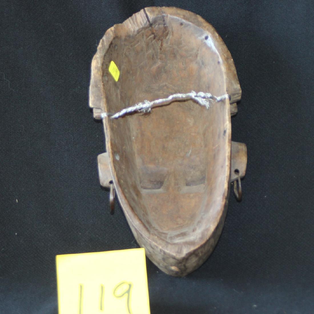 African Carved Wood Mask Mali Bambara Dogon Shells - 3