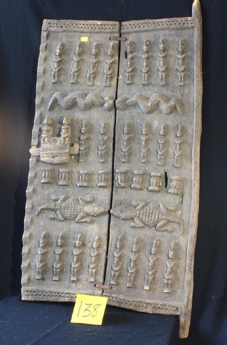 & Carved African Dogon Door Crocodiles Mali Burkina Faso