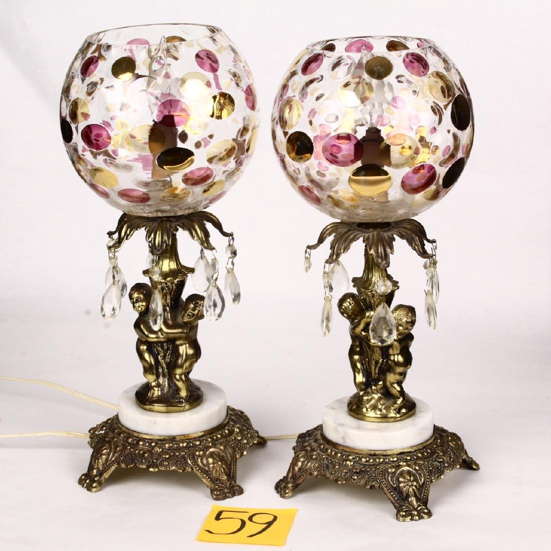 Pair Cherub Lamps w/ Prisms & Borske Sklo Union Nemo
