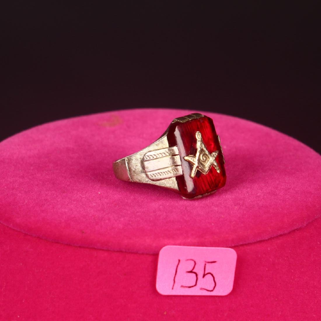 Sterling Silver Mens Art Deco Masonic Ring Red Cameo