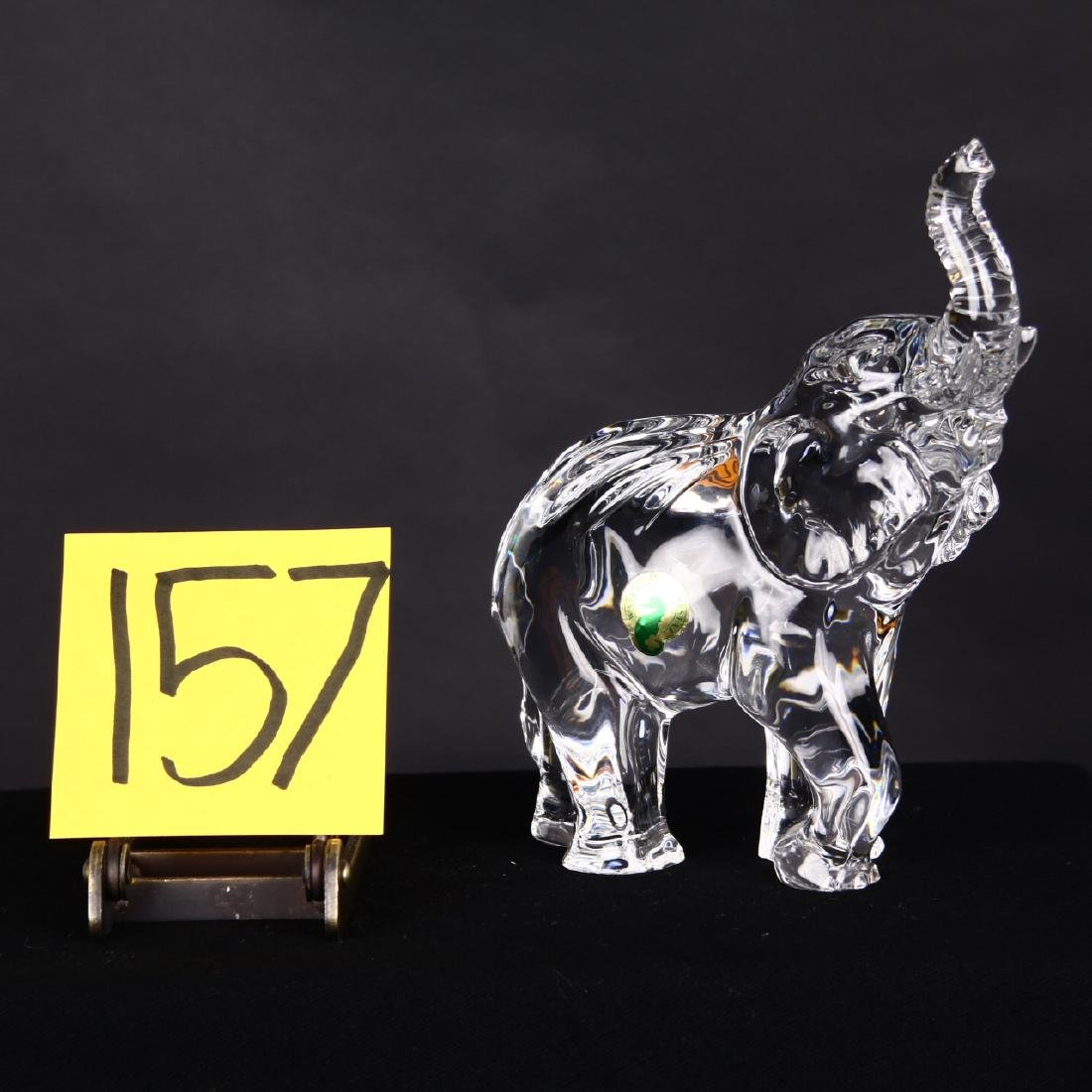 Waterford Crystal Elephant Figure Sculpture Trunk Up - 2