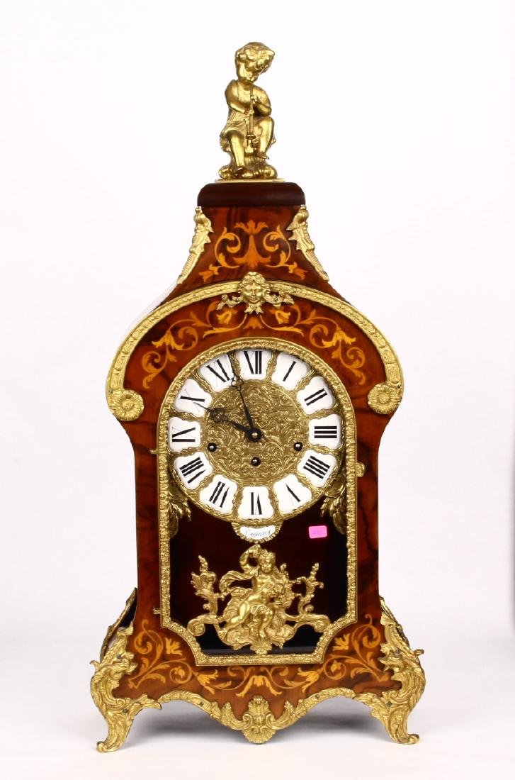 Tiffany Boulle Mantle Clock Brass Ormolu Cherubs Inlaid