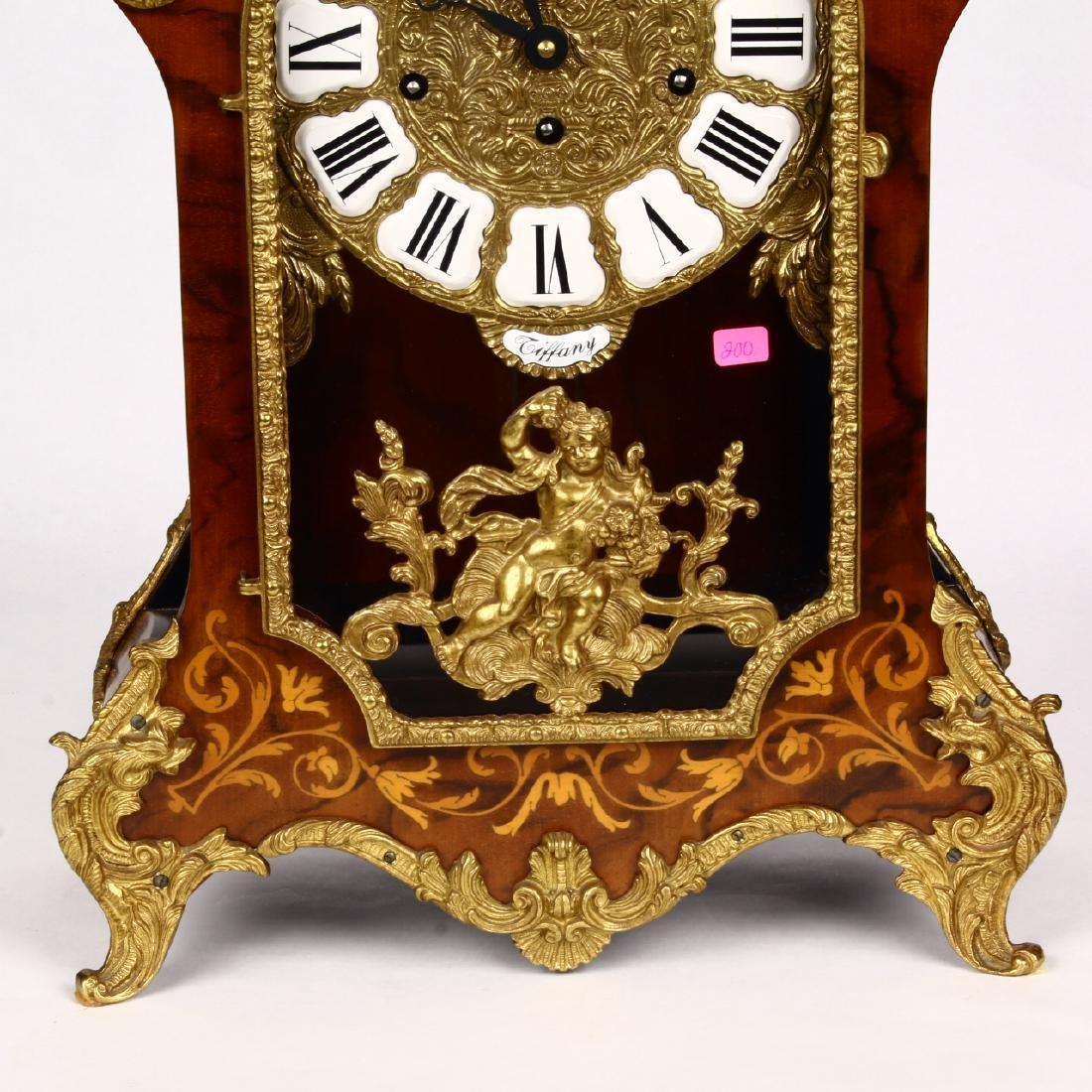 Tiffany Boulle Mantle Clock Brass Ormolu Cherubs Inlaid - 4