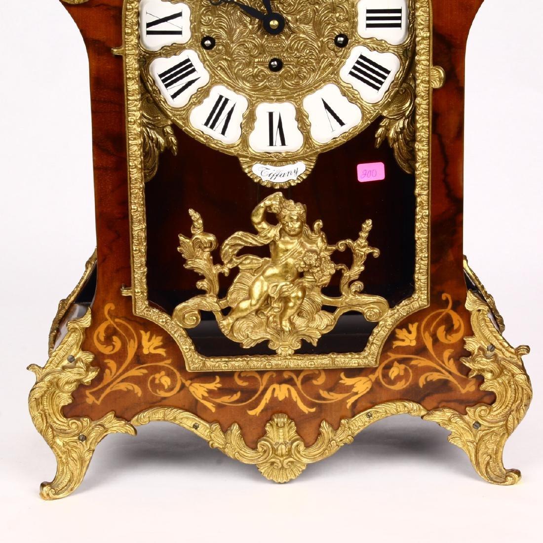 Tiffany Boulle Mantle Clock Brass Ormolu Cherubs Inlaid - 5