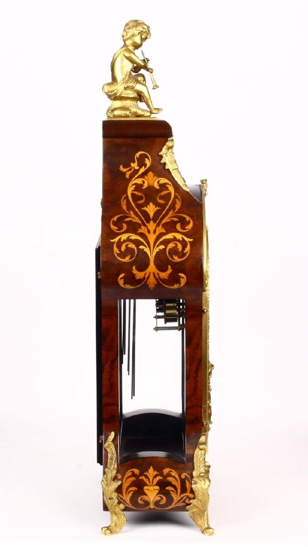 Tiffany Boulle Mantle Clock Brass Ormolu Cherubs Inlaid - 7