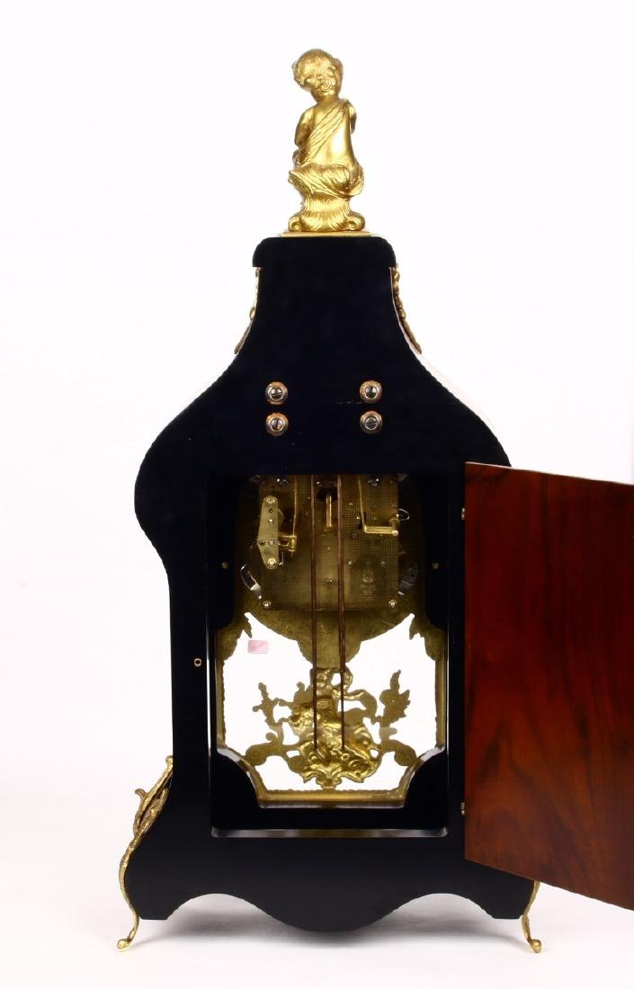 Tiffany Boulle Mantle Clock Brass Ormolu Cherubs Inlaid - 9