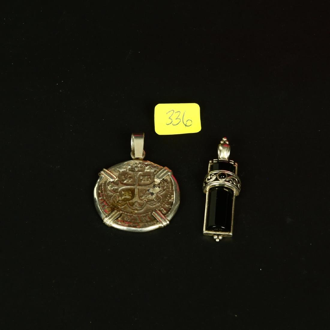 Sterling Silver Black Onyx & Ancient Style Coin Pendant