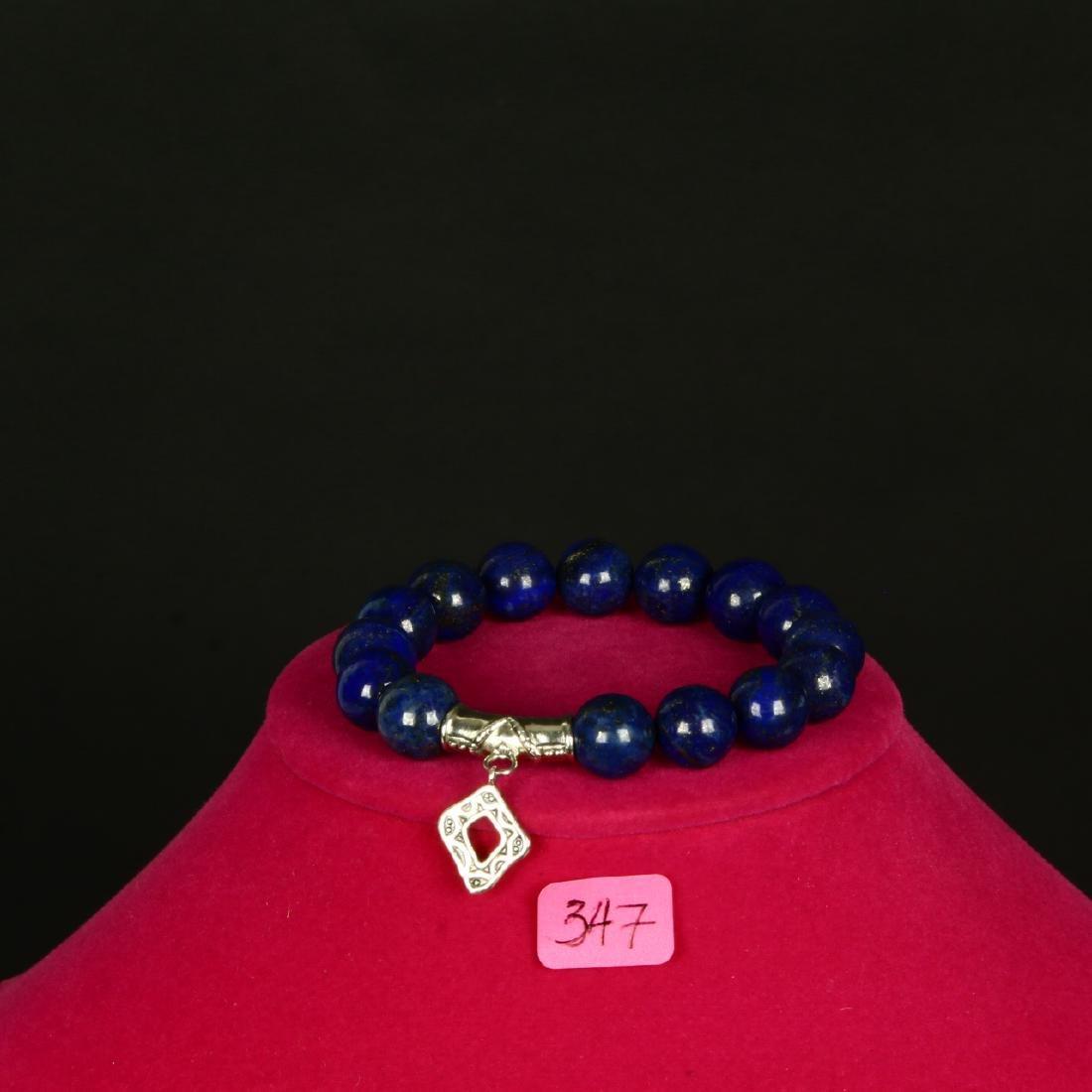 Lapiz Lazuli Bali Style Stretch Bead Bracelet Sterling