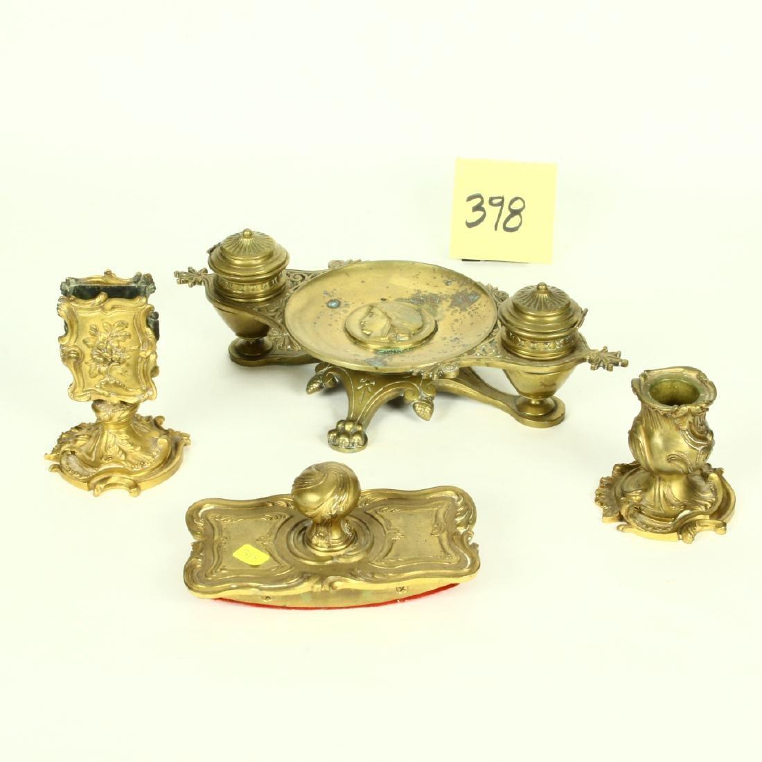 Victorian Ornate Brass Desk Set Ink Well Match Holder