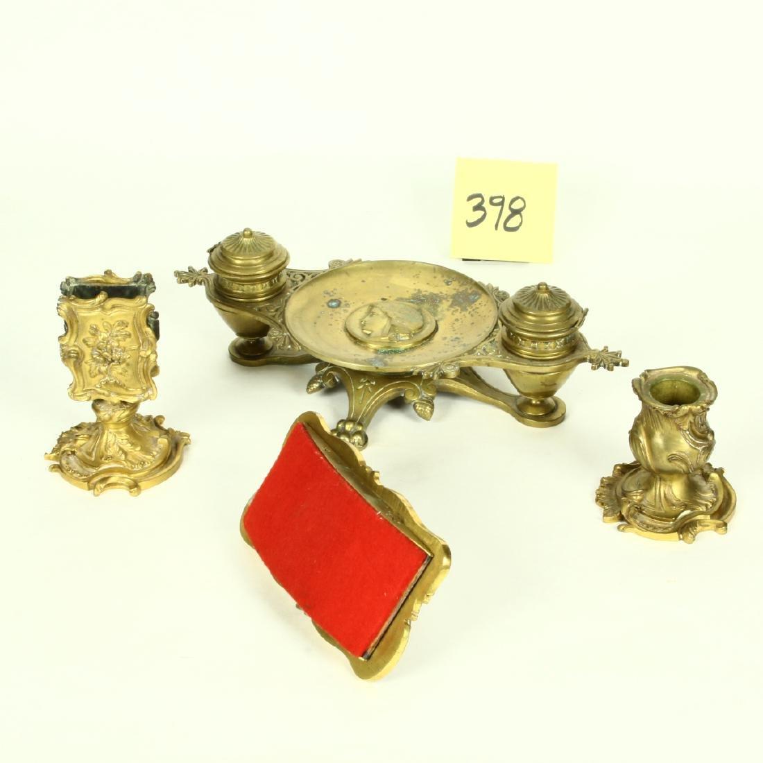 Victorian Ornate Brass Desk Set Ink Well Match Holder - 2