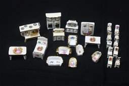 24 pc Limoges Miniature Porcelain Doll House Furniture