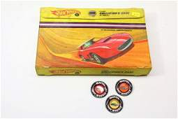 3 Vintage Redline Hotwheels Badges & 12 Car Case,