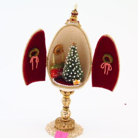Vintage Real Goose Egg Diorama Christmas Ornament on