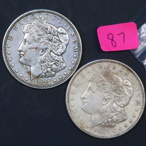 Two 1921D Silver Morgan Dollars