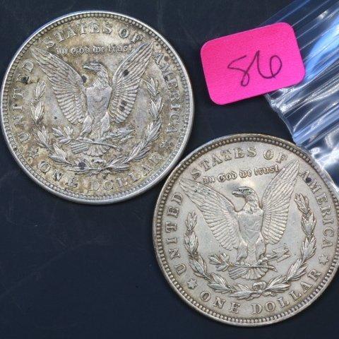Two 1921D Silver Morgan Dollars - 2