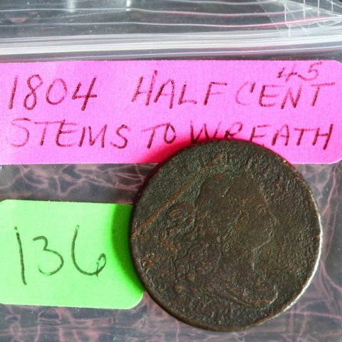 1804 Half Cent with Stems & rotated reverse