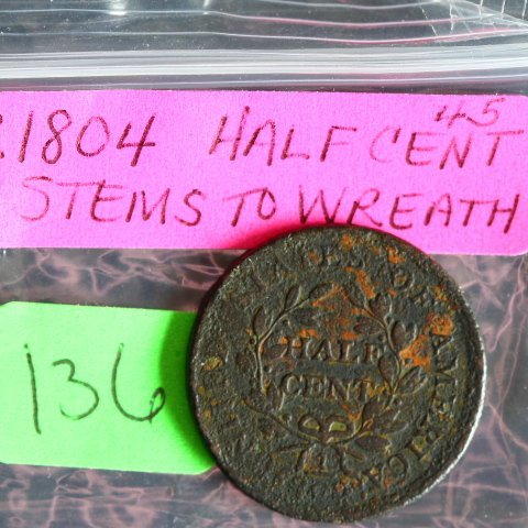 1804 Half Cent with Stems & rotated reverse - 2
