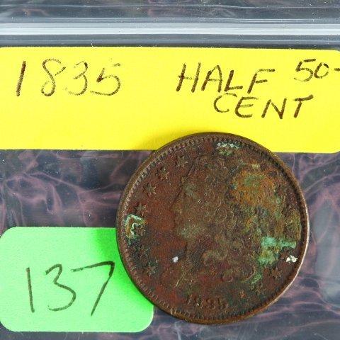 1835 Half Cent Classic Head