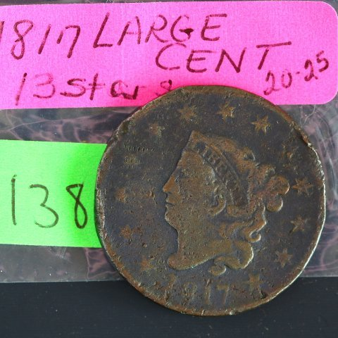 1817 Large Cent Coronet Head, 13 Stars