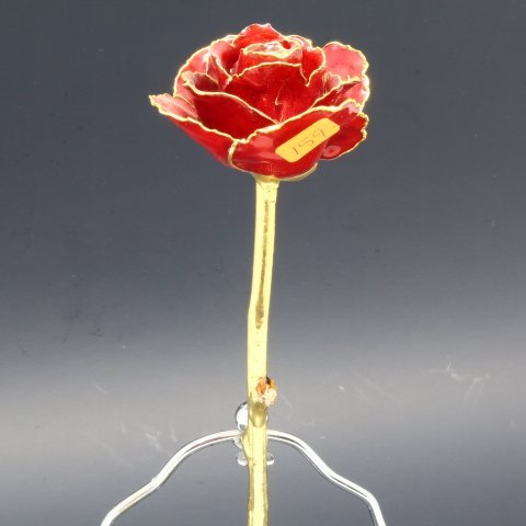 Real Long Stem Red Rose Dipped in 24kt Gold