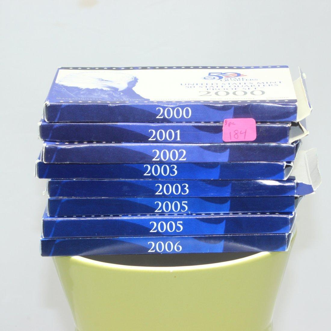 """8 US Mint """"50 State Quarters"""" Proof Sets, 2001-3,"""