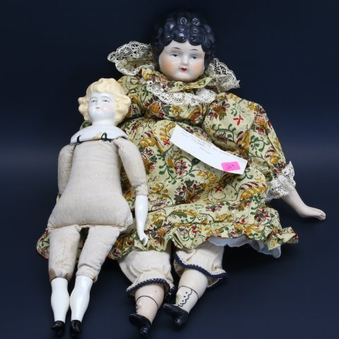 2 China Head Dolls Antique German Porcelain & Sally