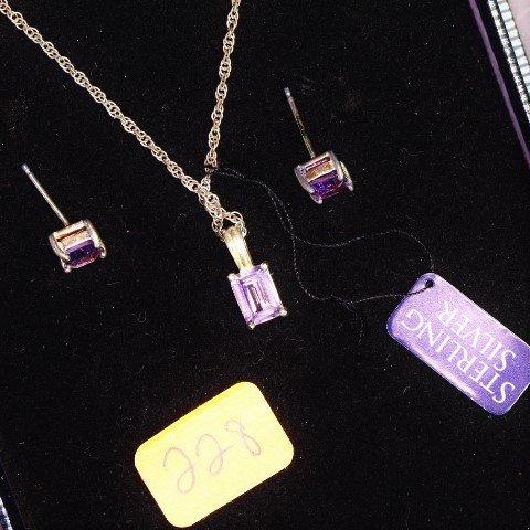 Sterling Silver & Genuine Amethyst Pendant Necklace &