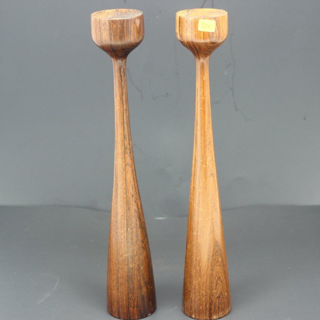 Pr Tall Mid Century Modern Teak Wood Candle Holders