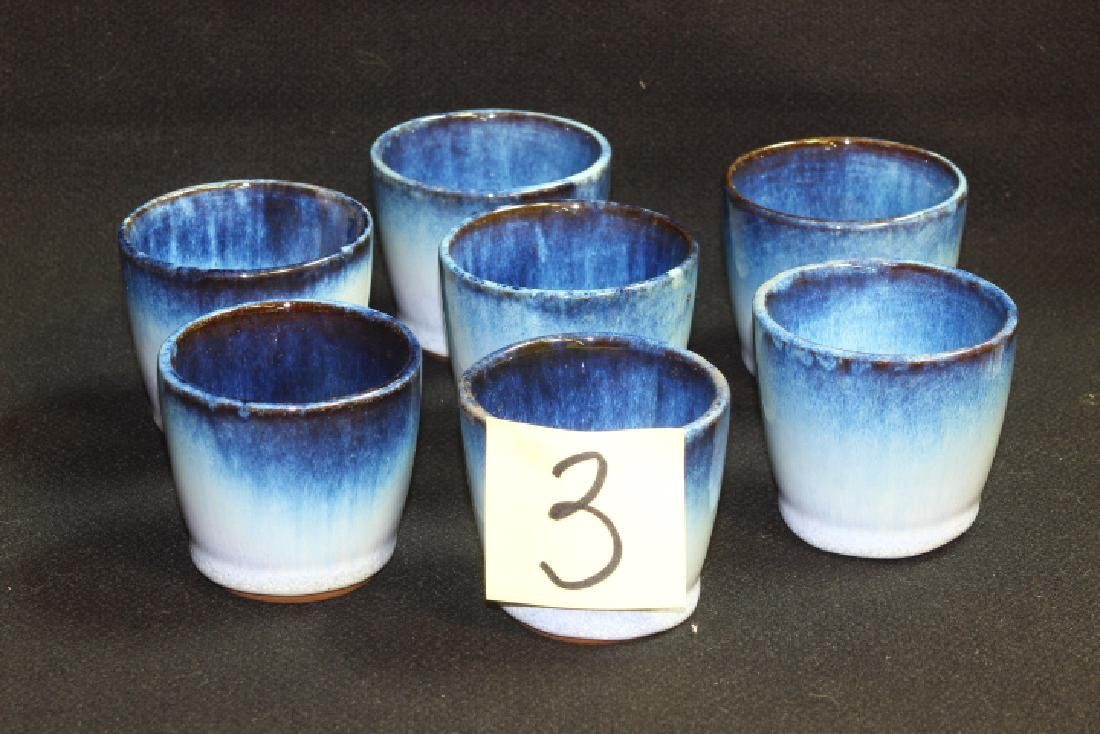 7 Vintage Peter Potts Stoneware Wine Cups - Seagull