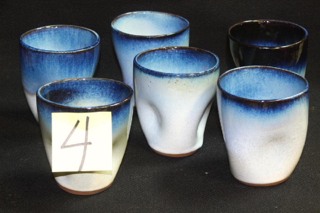 6 Vintage Peter Potts Stoneware Pinched Tumblers -