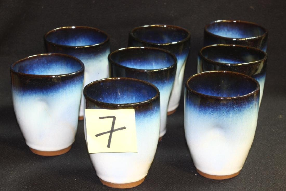 8 Vintage Peter Potts Stoneware Pinched Tumblers -