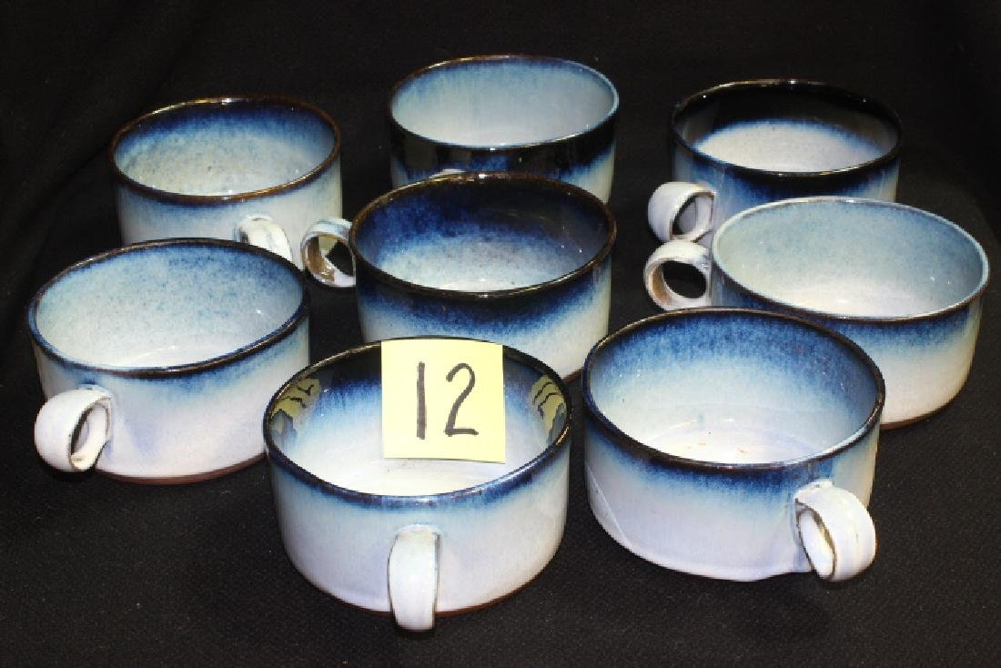 8 Vintage Peter Potts Stoneware Chowder Cups Soup Mugs-