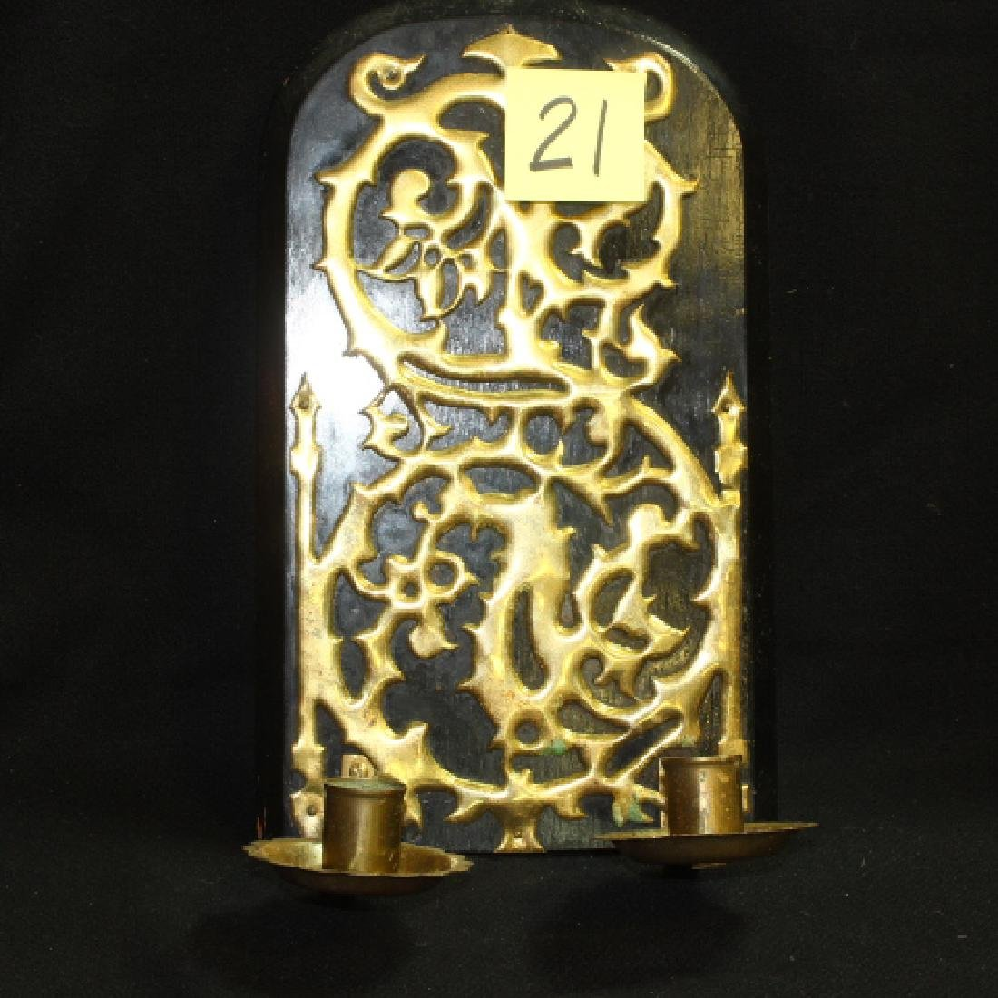 Antique Pierced Brass Double Wall Sconce, Ornate Scroll