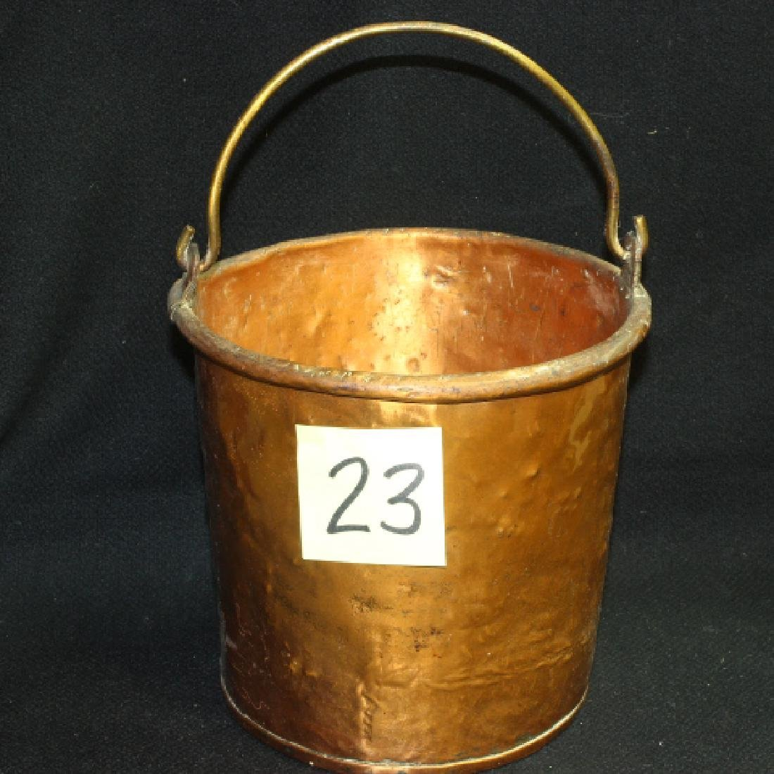 Early Antique Copper Bucket Pail Hand Hammered