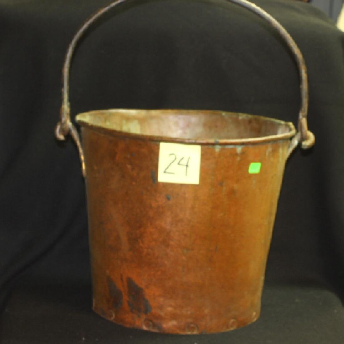 Large Early Antique Copper Bucket Pail HEAVY Rivits Tin