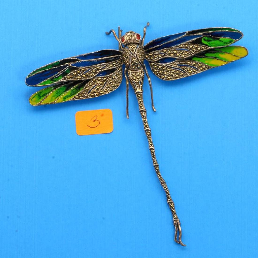 Sterling Silver Art Deco Dragonfly Pin Brooch Marcasite