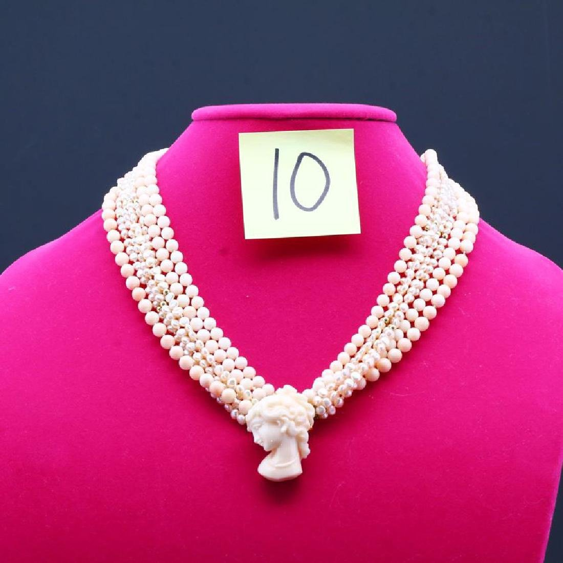 Angelskin Coral & Pearl Carved Cameo Multistrand