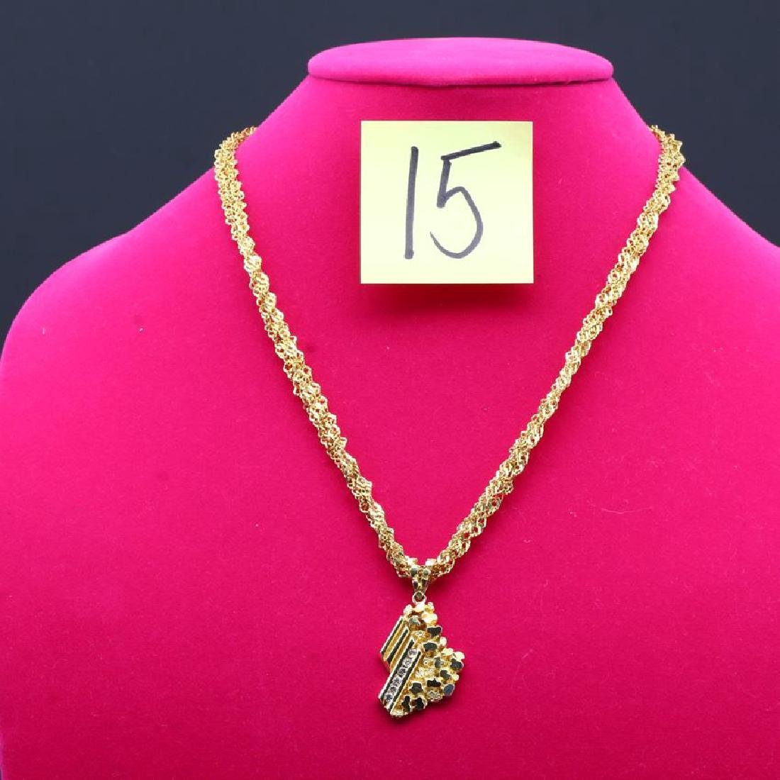 Multistrand 14K Yellow Gold Nugget & Diamond Necklace