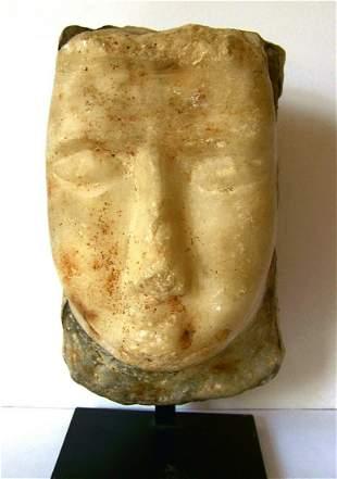 Ancient A South Arabian alabaster head.