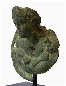 Roman Bronze Bust of a Satyr .