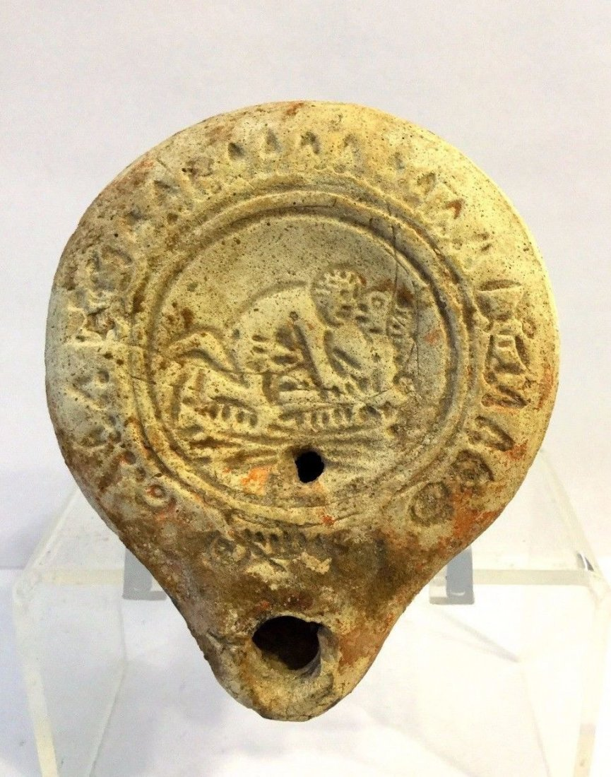 Roman clay oil lamp erotic.