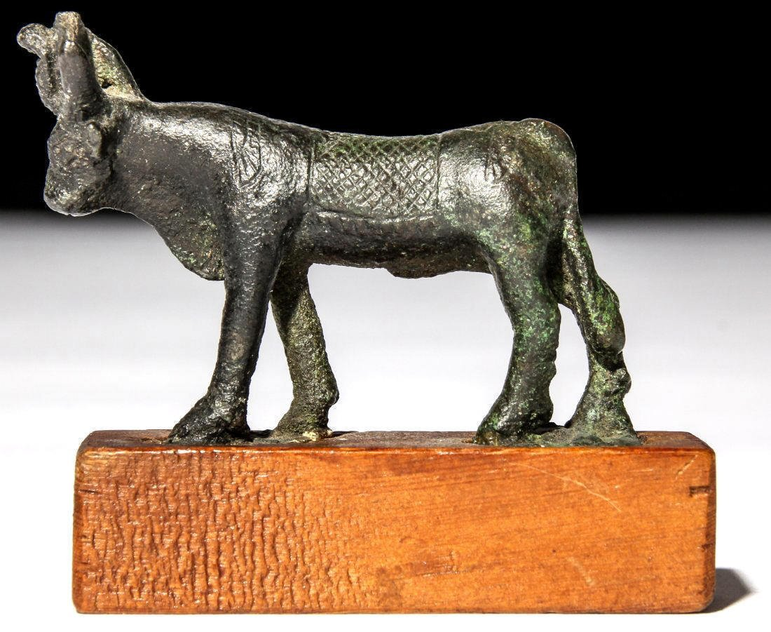 Ancient Egyptian Bronze Apis Bull .