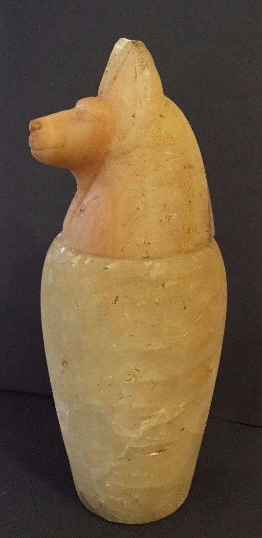 Ancient Egyptian Alabaster Canopic Jar Jackal Head . - 2