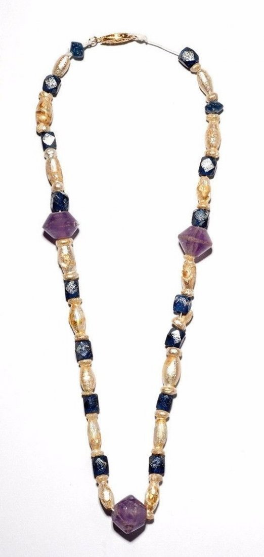 Ancient Roman Glass & Amethyst Necklace . - 3