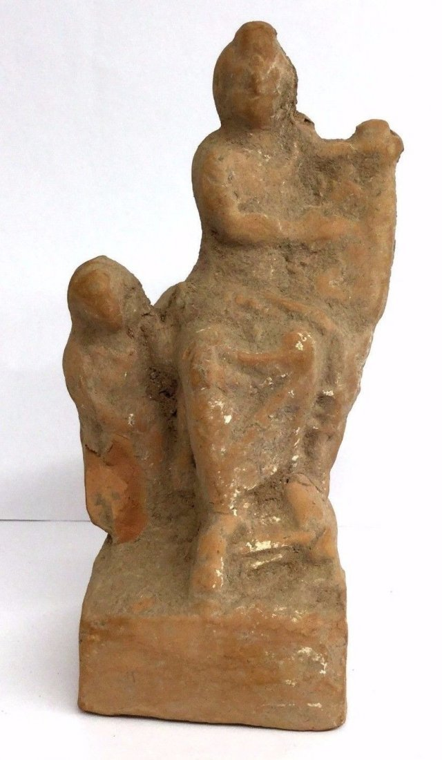 Ancient Roman Terracotta Statuette of a Seated Woman